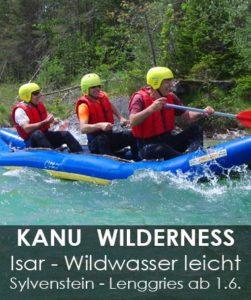 Kanu Isar in Bayern im Raum München Kanutour Sylvenstein Lenggries bei Bad Tölz