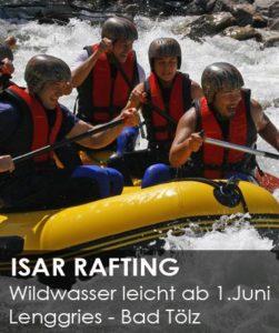 leichte Wildwasser Raftingtour auf der Isar