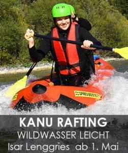 Kanu Isar Wildwasser Kanufahren - leichte Raftingtour bei Lenggries