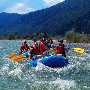 Bootfahren im Mini Raft, Schlauchbootverleih Isar Bootsvermietung Lenggries