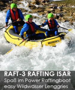 Rafting Isar in Bayern, Wildwasser mit Isarburg zwischen Lenggries und Tölz
